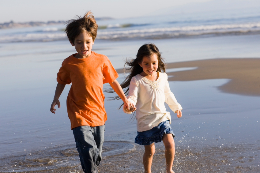 Children Running on Beach
